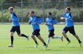 ALBANS ENGLAND MAY 3 Per Mertesacker Lukas Podolski Mikel Arteta and Nicklas Bendtner of Arsenal during a training session at London Colney on May 3...