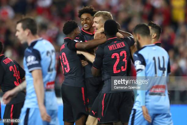 Per Mertesacker of Arsenal celebrates scoring a goal during the match between Sydney FC and Arsenal FC at ANZ Stadium on July 13 2017 in Sydney...