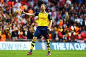 Per Mertesacker of Arsenal celebrates victory after the FA Cup Final between Aston Villa and Arsenal at Wembley Stadium on May 30 2015 in London...