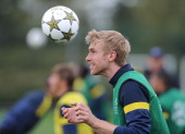 Per Mertesacker of Arsenal during a training session at London Colney on October 2 2012 in St Albans England