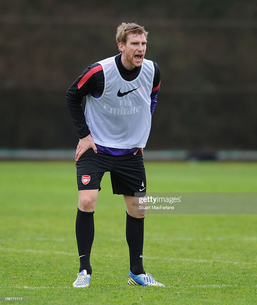 Per Mertesacker of Arsenal during a training session at London Colney on December 28, 2012 in St Albans, England.