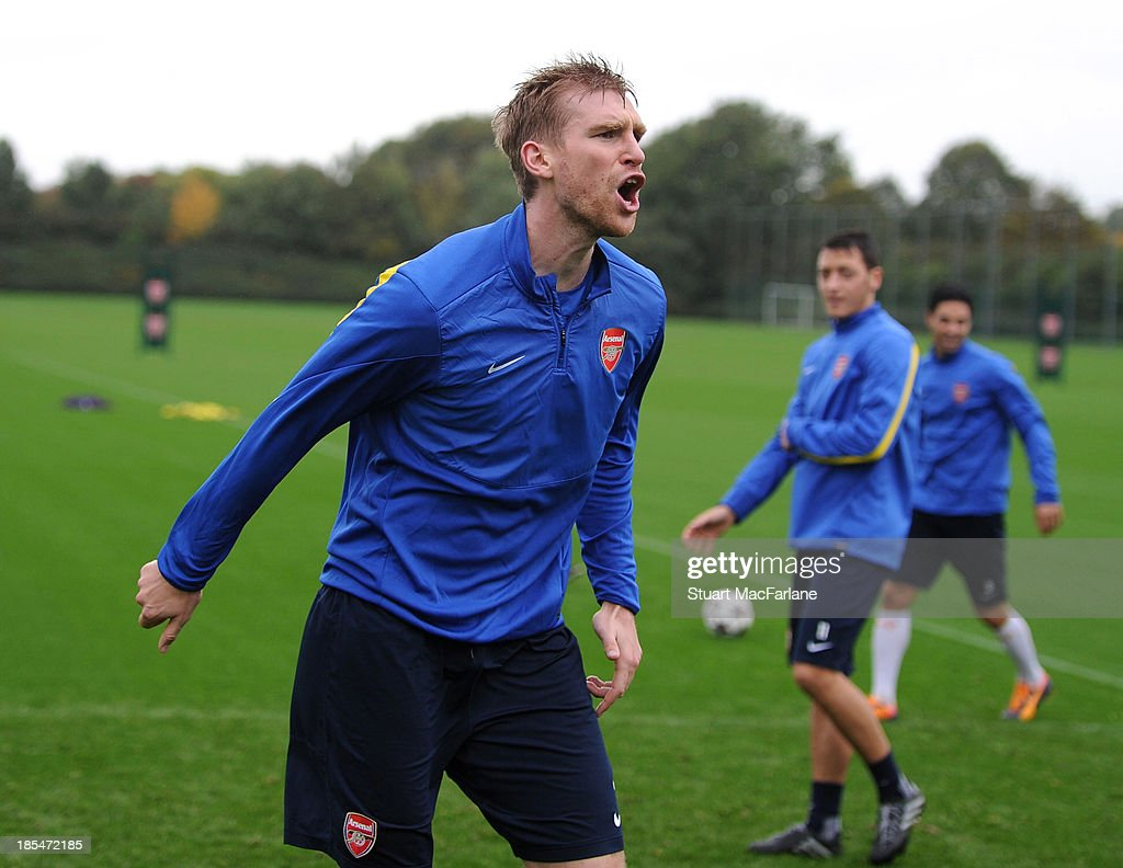 Per Mertesacker of Arsenal during a training session at London Colney on October 21, 2013 in St Albans, England.