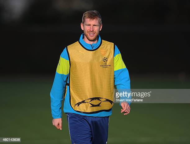 Per Mertesacker of Arsenal during a training session at London Colney on December 8 2014 in St Albans England
