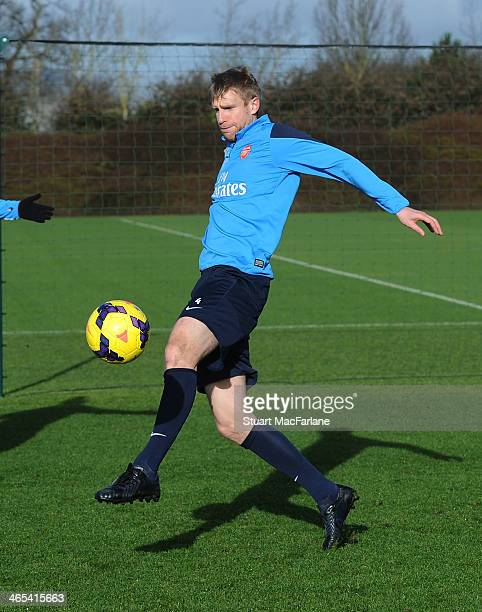 Per Mertesacker of Arsenal during a training session at London Colney on January 27 2014 in St Albans England