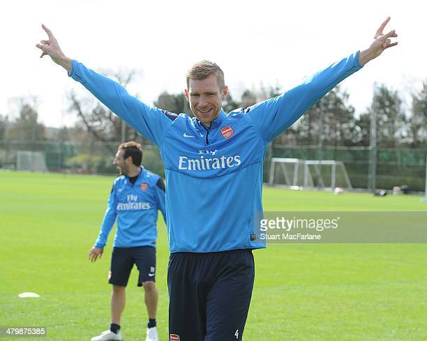 Per Mertesacker of Arsenal during a training session at London Colney on March 21 2014 in St Albans England