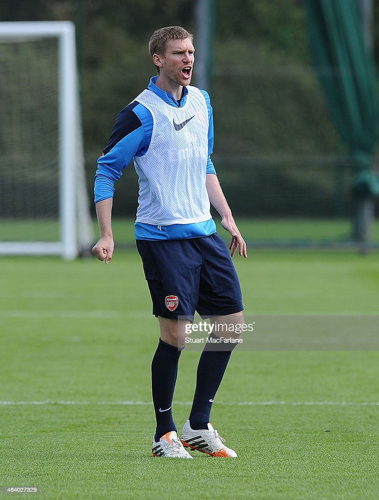 Per Mertesacker of Arsenal during a training session at London Colney on April 11, 2014 in St Albans, England.