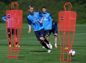 ALBANS ENGLAND MAY 3 Per Mertesacker of Arsenal during a training session at London Colney on May 3 2014 in St Albans England