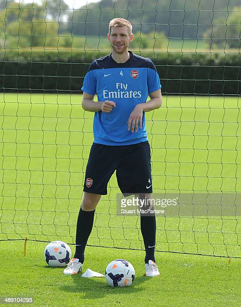 Per Mertesacker of Arsenal during a training session at London Colney on May 10 2014 in St Albans England