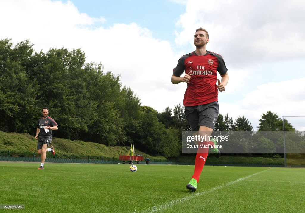 Per Mertesacker of Arsenal during a training session at London Colney on July 4, 2017 in St Albans, England.