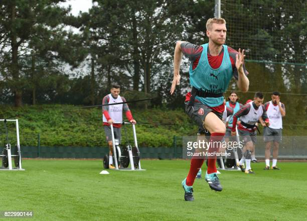 Per Mertesacker of Arsenal during a training session at London Colney on July 26 2017 in St Albans England