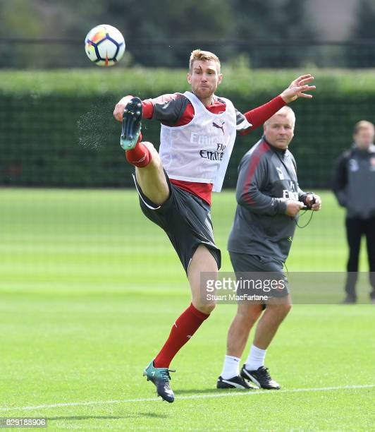 Per Mertesacker of Arsenal during a training session at London Colney on August 10 2017 in St Albans England