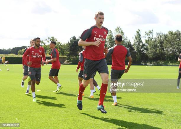 Per Mertesacker of Arsenal during a training session at London Colney on August 18 2017 in St Albans England