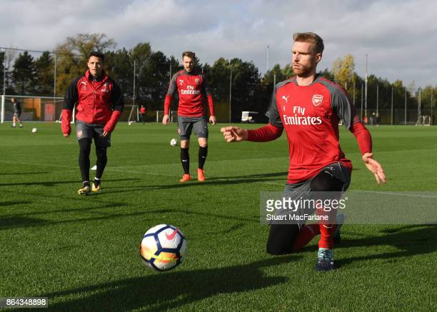 Per Mertesacker of Arsenal during a training session at London Colney on October 21 2017 in St Albans England