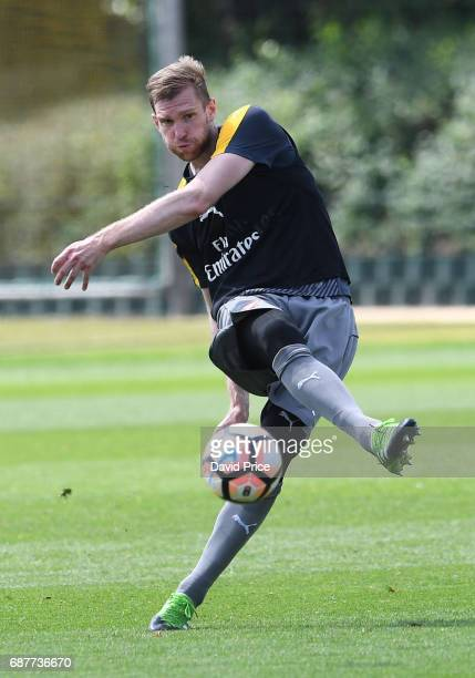 Per Mertesacker of Arsenal during the Arsenal Training Session at London Colney on May 24 2017 in St Albans England