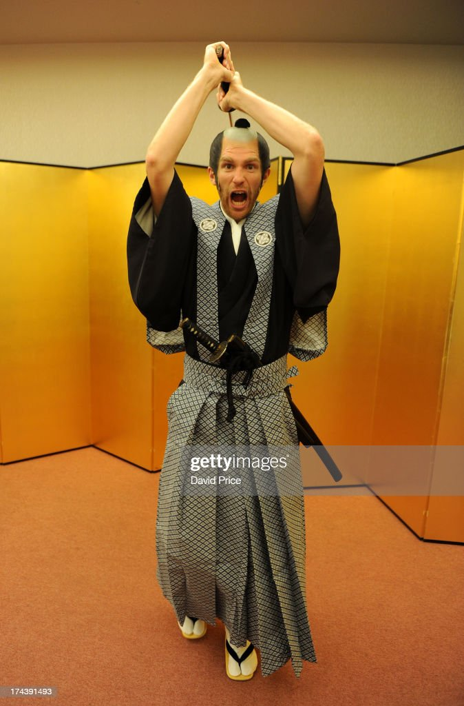 <a gi-track='captionPersonalityLinkClicked' href=/galleries/search?phrase=Per+Mertesacker&family=editorial&specificpeople=207135 ng-click='$event.stopPropagation()'>Per Mertesacker</a> of Arsenal FC poses dressed as Samurai Warrior in the Urawa Royal Pines Hotel in Japan for the club's pre-season Asian tour on July 25, 2013 in Saitama, Japan.