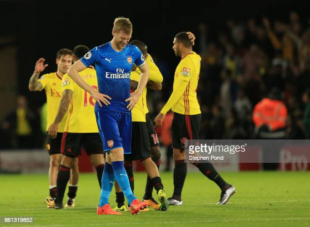 Per Mertesacker of Arsenal looks dejected in defeat the Premier League match between Watford and Arsenal at Vicarage Road on October 14 2017 in...