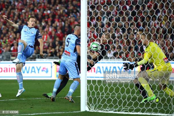 Per Mertesacker of Arsenal scores a goal during the match between Sydney FC and Arsenal FC at ANZ Stadium on July 13 2017 in Sydney Australia