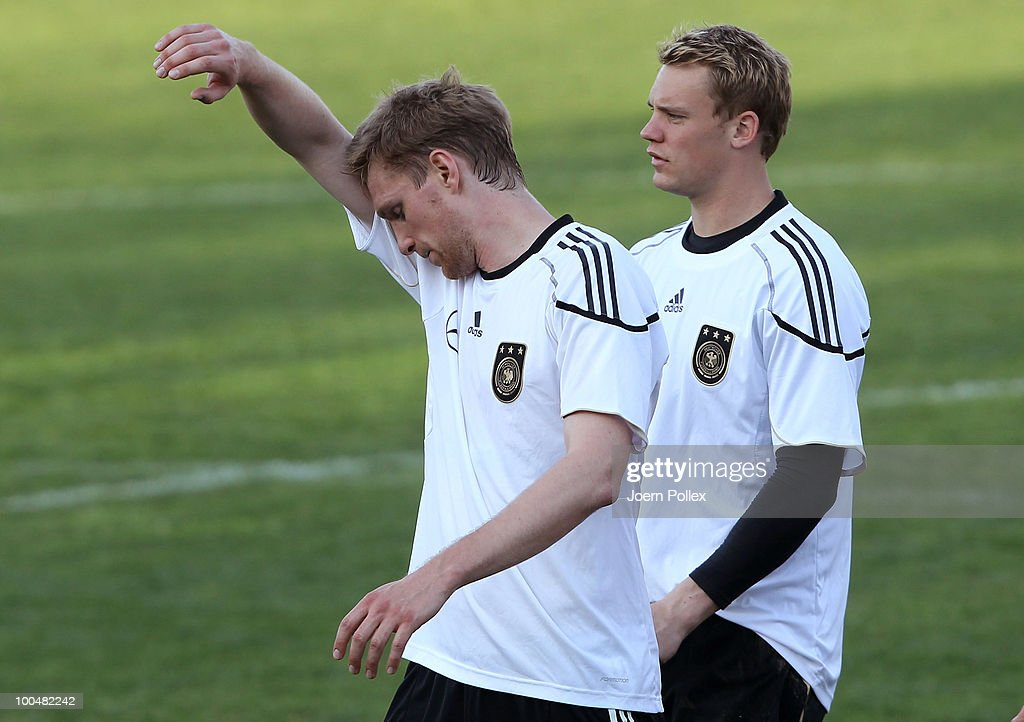Per Mertesacker of Germany gestures after the friendly match of FC South Tyrol and Germany at Sportzone Rungg on May 24, 2010 in Appiano sulla Strada del Vino, Italy.