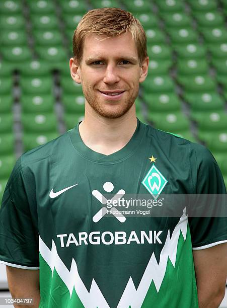 Per Mertesacker poses during the team presentation at the Weser stadium on August 16 2010 in Bremen Germany