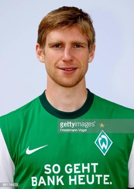 Per Mertesacker poses during the Werder Bremen team presentation at the Weser stadium on July 21 2009 in Bremen Germany