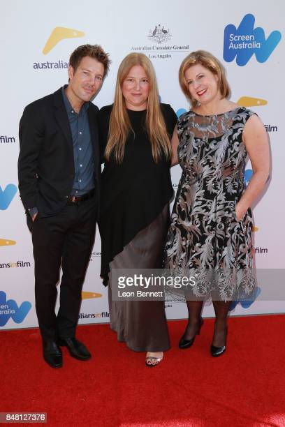 Per Saari Bruna Papandrea and Liane Moriarty attends The 2017 Australian Emmy Nominee Sunset Reception on September 16 2017 in Beverly Hills...