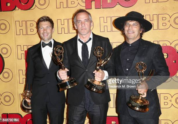 Per Saari JeanMarc Vallee and Nathan Ross attend HBO's Post Emmy Awards Reception at The Plaza at the Pacific Design Center on September 17 2017 in...