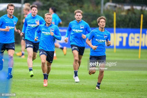 Per Skjelbred and Genki Haraguchi during the fifth day of the training camp of Hertha BSC on july 12 2017 in Bad Saarow Germany