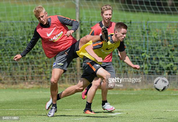 Per Skjelbred and Julius Kade during the training of Hertha BSC on july 6 2016 in Bad Saarow Germany
