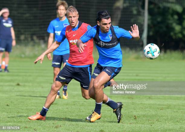 Per Skjelbred and Karim Rekik of Hertha BSC during the dritten Tages the traininglagers of Hertha BSC on july 10 2017 in Bad Saarow Germany