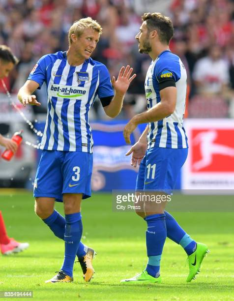 Per Skjelbred and Mathew Leckie of Hertha BSC during the game between Hertha BSC and dem VfB Stuttgart on august 19 2017 in Berlin Germany