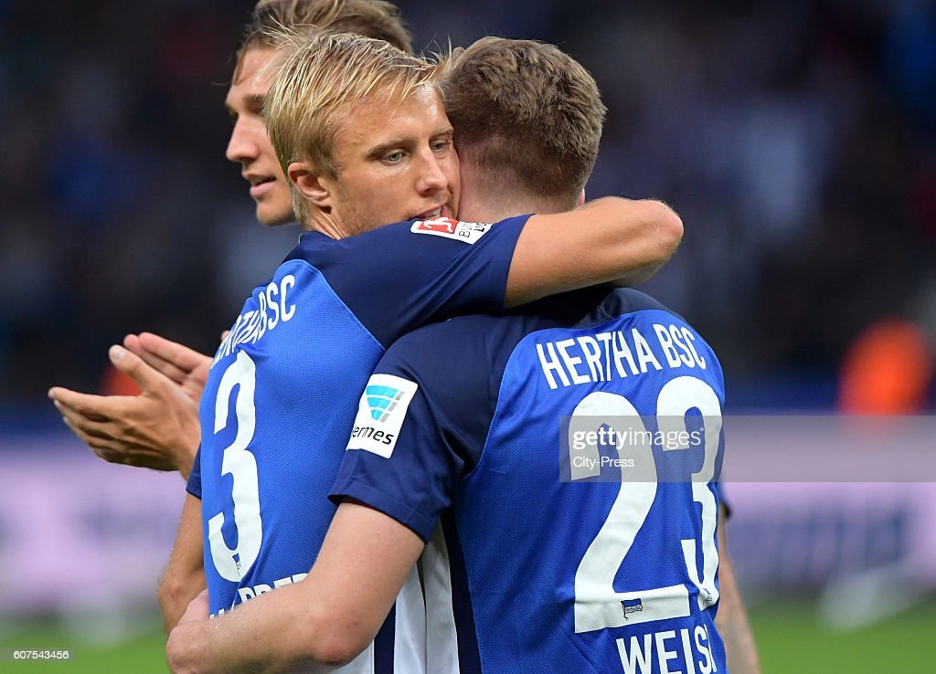 Per Skjelbred and Mitchell Weiser of Hertha BSC celebrate after scoring the 1:0 during the game between Hertha BSC and FC Schalke 04 on September 18, 2016 in Berlin, Germany.