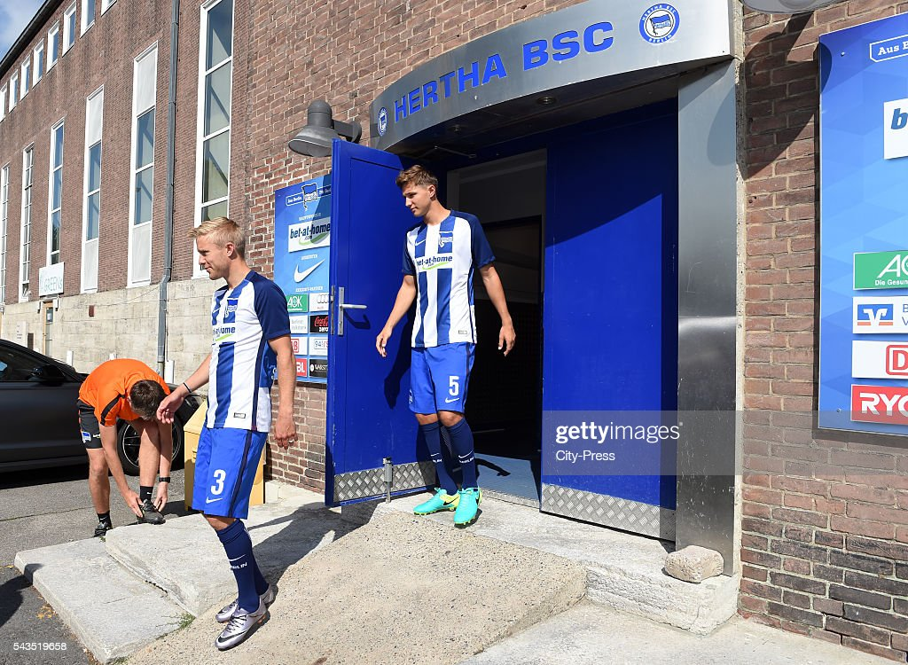 Per Skjelbred and Niklas Stark of Hertha BSC during the training on june 29, 2016 in Berlin, Germany.