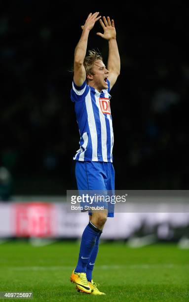 Per Skjelbred of Berlin celebrates his team's first goal during the Bundesliga match between Hertha BSC and VfL Wolfsburg at Olympiastadion on...