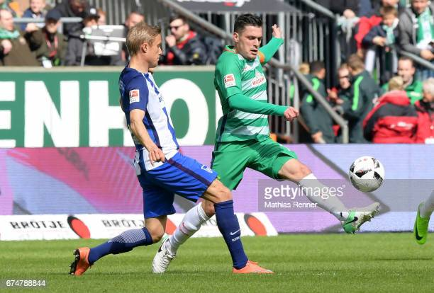 Per Skjelbred of Hertha BSC and Zlatko Junuzovic of Werder Bremen during the Bundesliga match between Werder Bremen and Hertha BSC on April 29 2017...