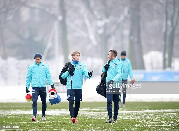 Per Skjelbred Sinan Kurt and Yanni Regaesel of Hertha BSC during the training of Hertha BSC on january 7 2016 in Berlin Germany