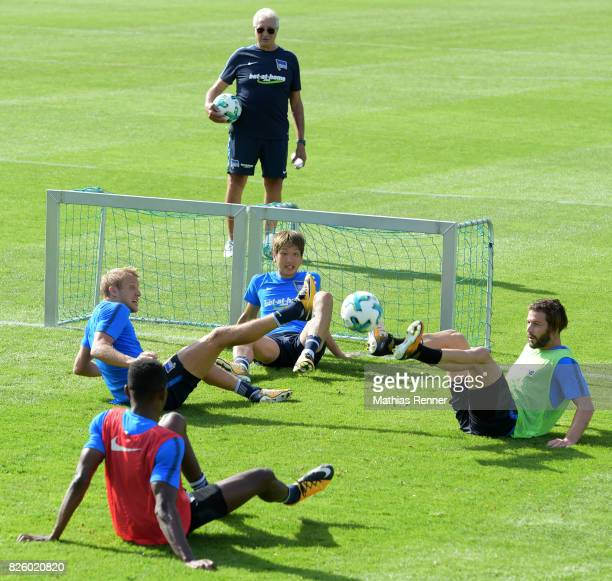 Per Skjelbred team leader Nello di Martino Genki Haraguchi and Marvin Plattenhardt of Hertha BSC during the training camp on august 3 2017 in...