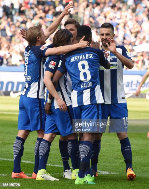 Per Skjelbred Valentin Stocker Niklas Stark Salomon Kalou and Vedad Ibisevic of Hertha BSC celebrate after scoring the 20 during the game between...