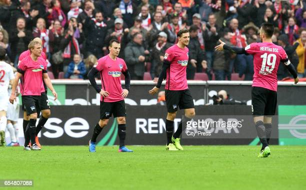 Per Skjelbred Vladimir Darida Niklas Stark and Vedad Ibisevic of Hertha BSC during the game between dem 1 FC Koeln and Hertha BSC on march 18 2017 in...