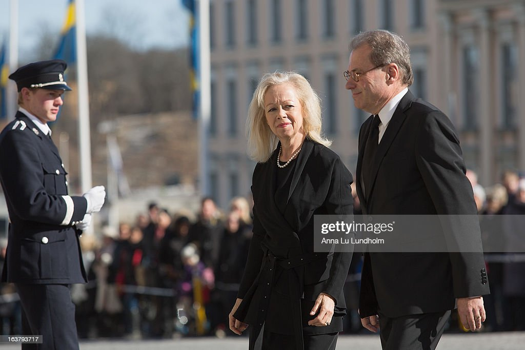 Per Westerberg and Ylwa Westerberg attend the funeral of Princess Lilian Of Sweden on March 16, 2013 in Stockholm, Sweden.
