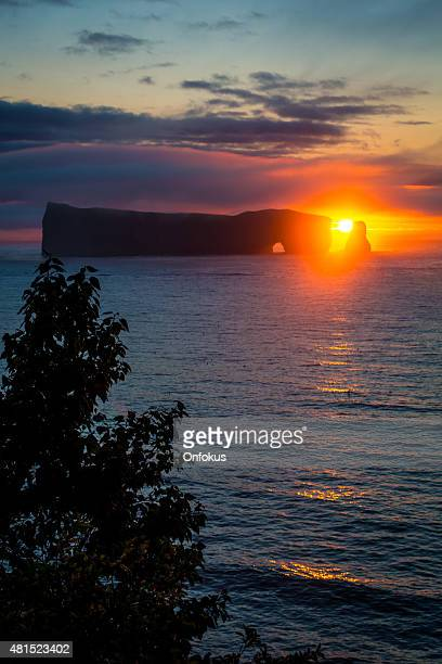 Perce Rock on the Gaspe Peninsula at Sunrise