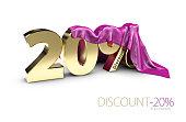 percentage discount sign under cloth, percentage discount sign, percentage discount sign, 3dIllustration.