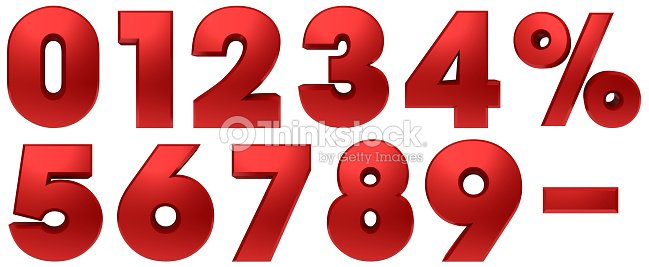 percentage icon percent sign 3d red set numbers discount savings interest rate symbols template cut out white background : Stock Photo