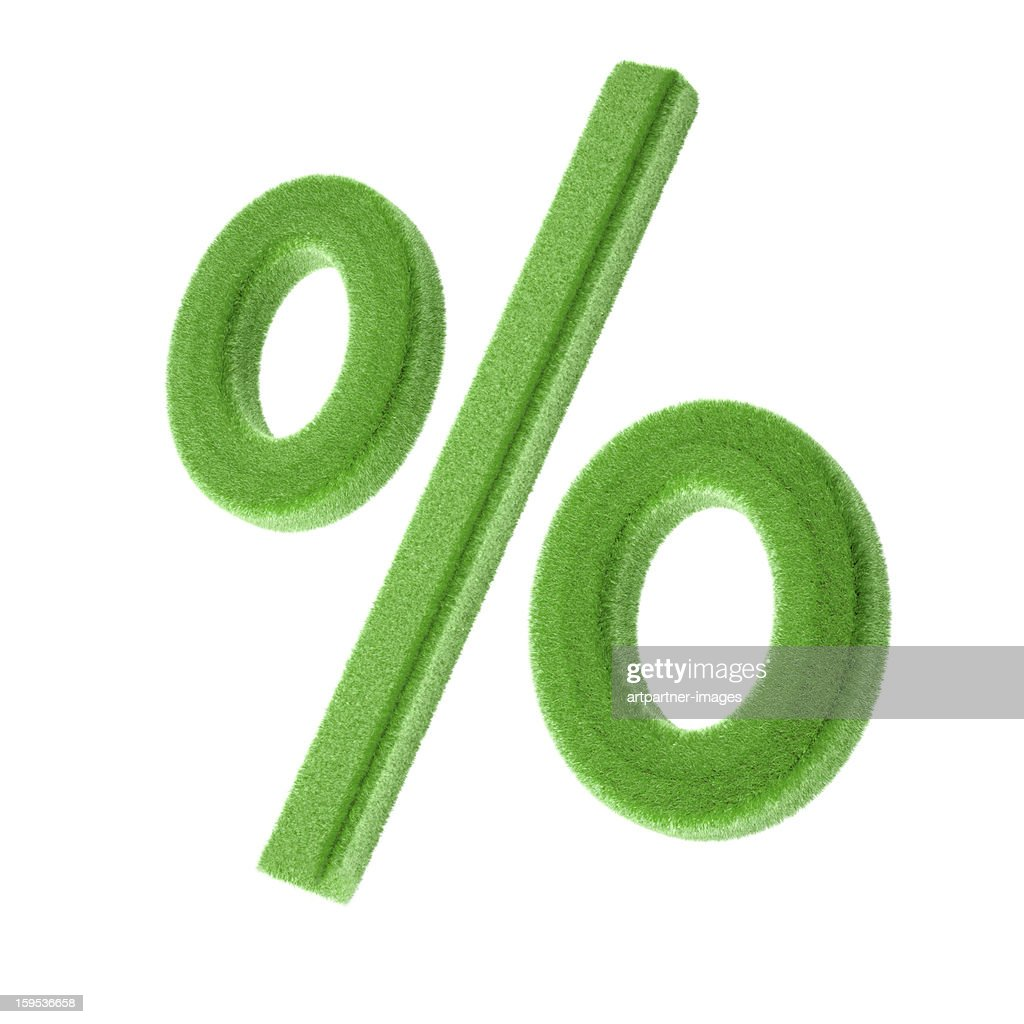 Percentage Sign made of green gras On White : Stock Photo