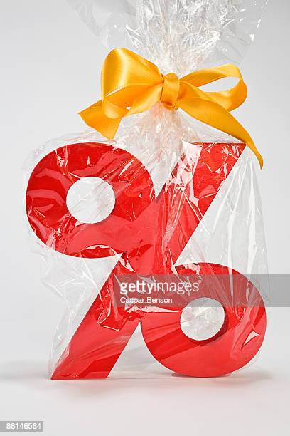 Percentage sign wrapped in plastic and tied with a bow