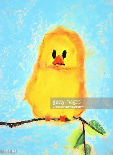 子供の芸術絵画かわいい鳥