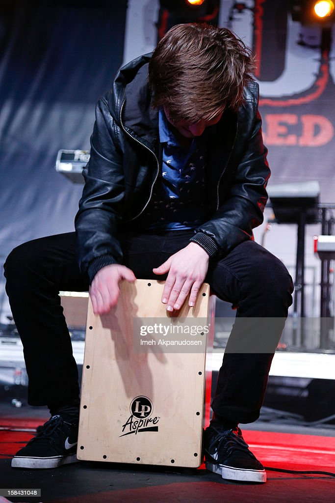 Percussionist Jamie Follese of Hot Chelle Rae performs onstage at The 3rd Annual Salvation Army Rock The Red Kettle Concert at Nokia Theatre L.A. Live on December 15, 2012 in Los Angeles, California.