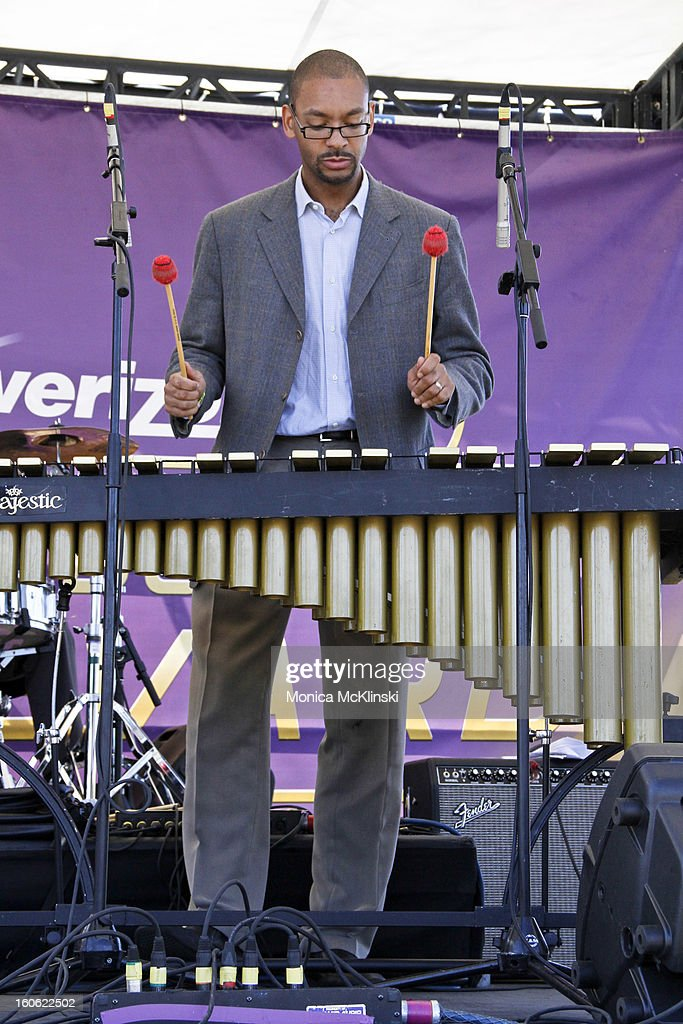 Percussionist Jason Marsalis performs on xylophone with Tim Laughlin during the Verizon Super Bowl Boulevard at Woldenberg Park on February 3, 2013 in New Orleans, Louisiana.