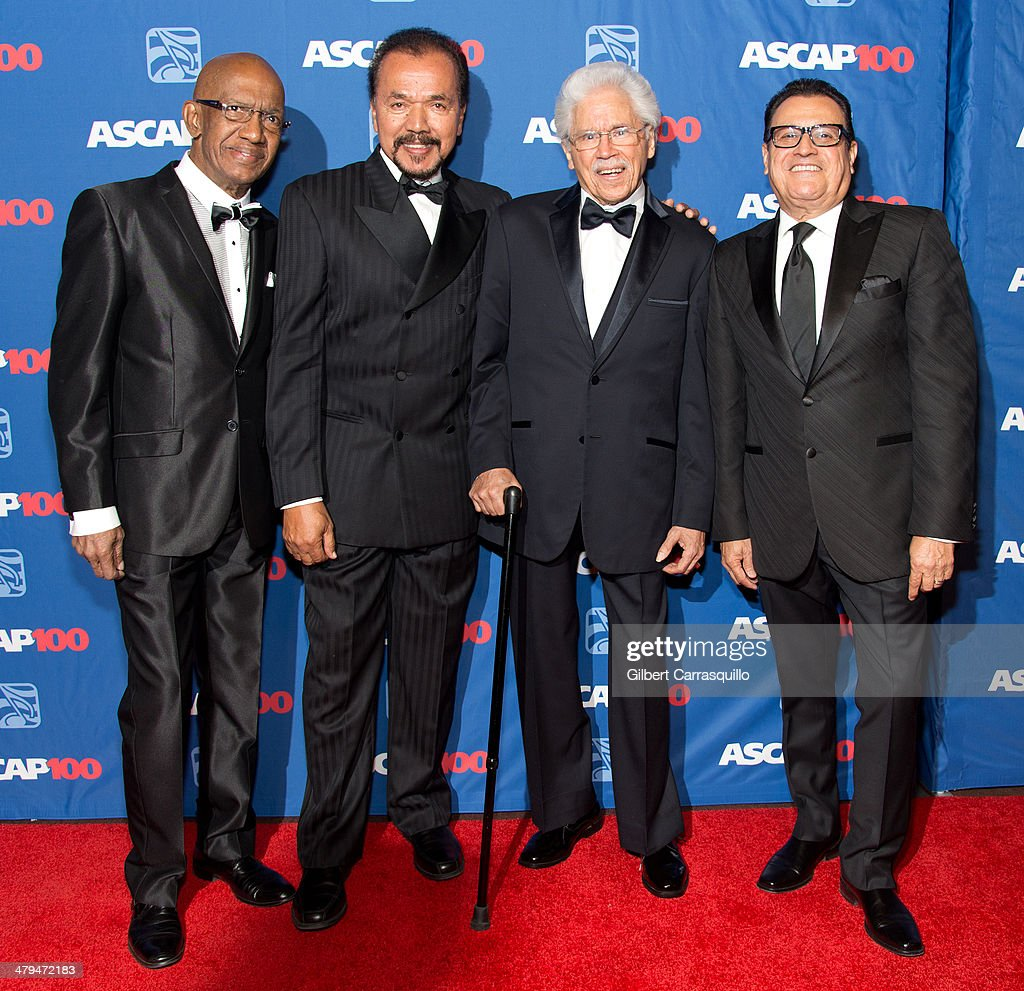 Percussionist Roberto Roena, musician Bobby Valentin, creator of the Fania All-Stars Johnny Pacheco and composer/singer <a gi-track='captionPersonalityLinkClicked' href=/galleries/search?phrase=Ismael+Miranda&family=editorial&specificpeople=4426950 ng-click='$event.stopPropagation()'>Ismael Miranda</a> attend the 22nd annual ASCAP Latin Music Awards at Hammerstein Ballroom on March 18, 2014 in New York City.