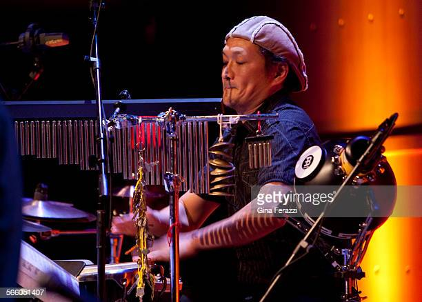 Percussionist Tomohiro Yahiro plays in a tribute to great Japanese composer Toru Takemitsu with two guitarists and an accordion player at the Samueli...