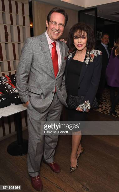 Percy Gibson and Joan Collins attend the Spectator Life 5th Birthday Party at the Hari Hotel on April 27 2017 in London England
